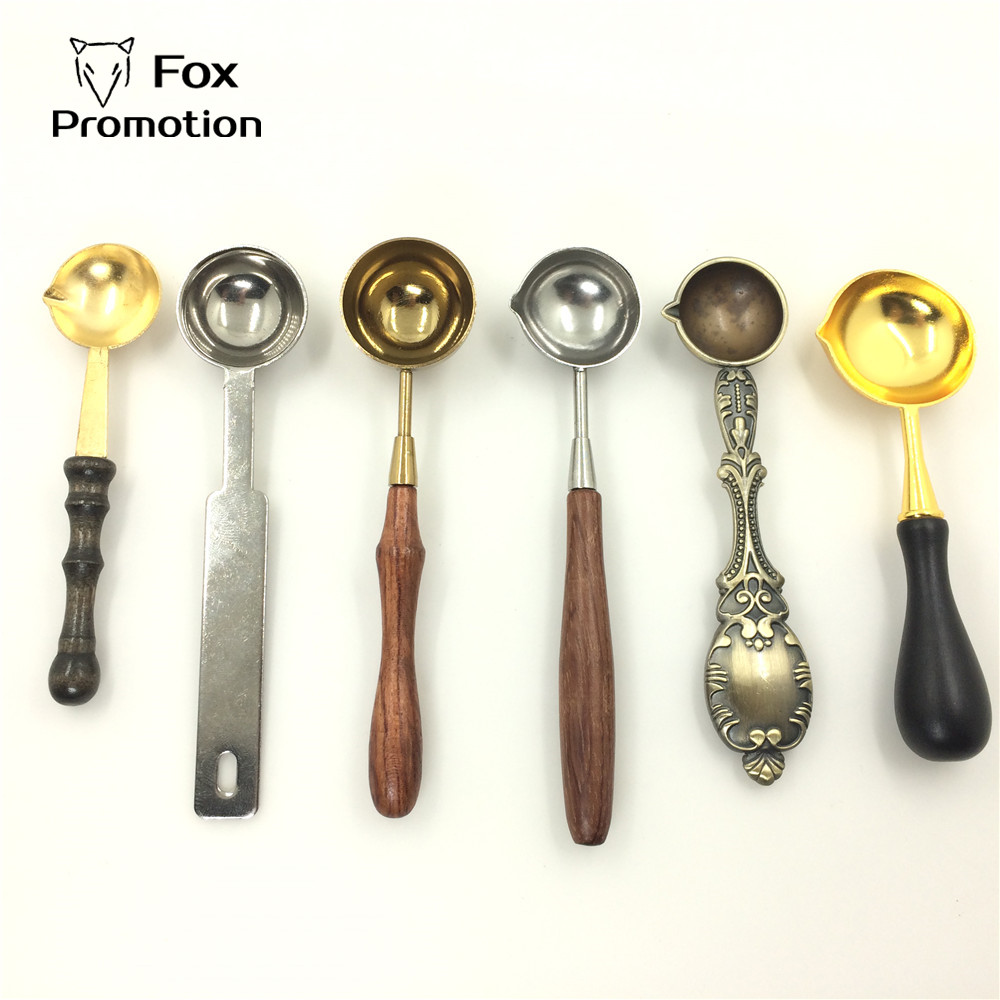 1pcs Hot Fashion Stainless Steel Spoon wood handle length 12cm Hight quality for Wax seal ancient sealing wax tablet pill beads-in Stamps from Home & Garden
