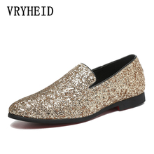 VRYHEID Brand Luxury Men Loafers British Style Silver Gold Mens Glitter Leather casual shoes Suitable for Banquet and Wedding