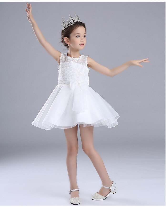 Lace Butterfly Knot Girl's Wedding Dress Europe Style