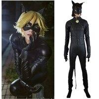 Ladybug Cat Noir Costumes Cosplay Kids Girls Children Black Cat Noir Costumes Spandex Romper Halloween Fancy