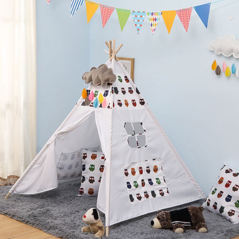 Kids Play Tent Cotton Canvas Tipi For Baby House Ins Hot Foldable Children's Tent Black Tree Printed Children Teepee Four Poles