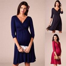 Maternity Dresses Deep V-neck Fashion Party Evening Dress for Pregnant Women Clothes Elegant Lady Pregnancy Dress Clothing