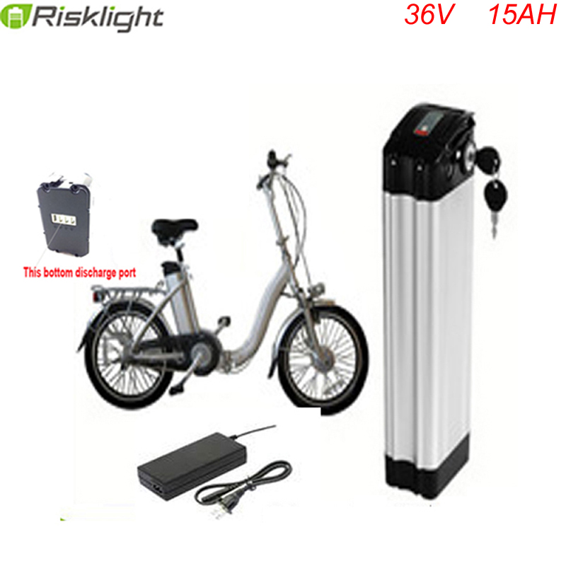 Bottom discharge li-ion electric bike battery 36v 15ah ebike battery silver fish type 36volt lithium ion battery with charger 48v lithium ion battery silver fish case electric bike battery 48v 10ah ebike li ion battery with 2a charger