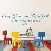 Christian Bible Verse James 1:17 Every Good Gift and Every Perfect Gift Scripture Stickers 15x57