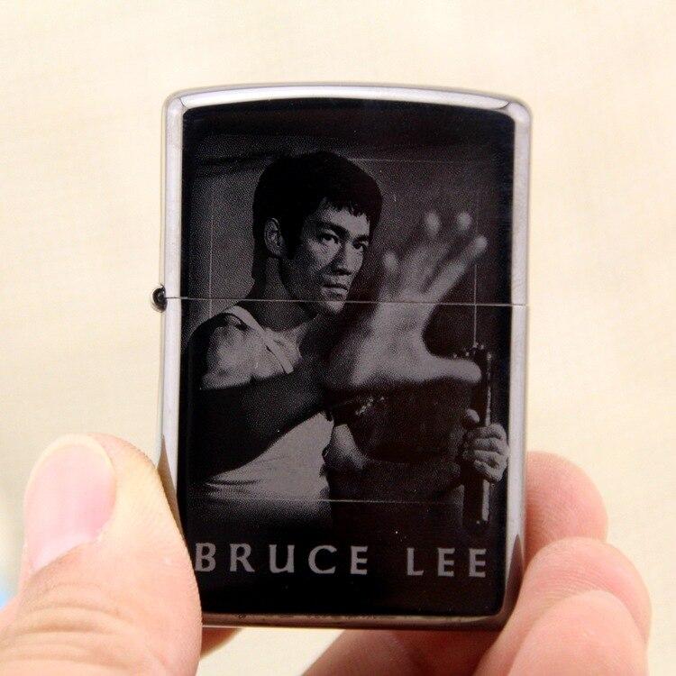 HK  brand BRUCE LEE copper shell petrol lighter,Men cigarette lighter Gift