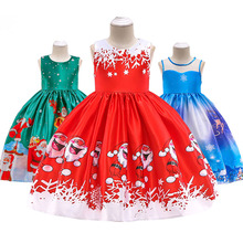 Toddler Baby Girl Christmas Princess Dress Kids Girls Santa Print Outfits Clothes