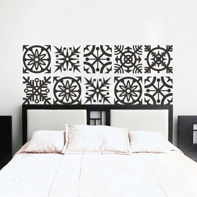 Headboard Wall Decal Geometric Dorm Decor Shabby Chic Star Snowflake  Bedroom Vinyl Sticker Mural Wall Art