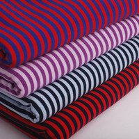 DIY 5mm color stripe cloth Lycra spandex cotton knitted T shirt fabric cloth baby clothes
