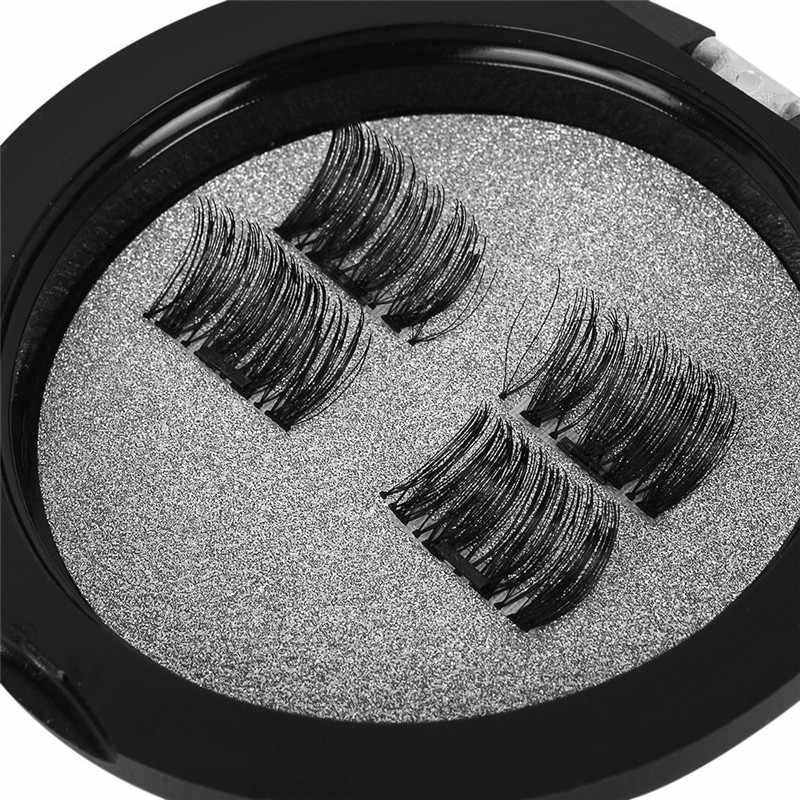 4Pcs/2pairs 3D Reusable Magnetic Eyelashes False Magnet Eye Lashes Extender Thicker Natural Makeup Set Beauty Accessories