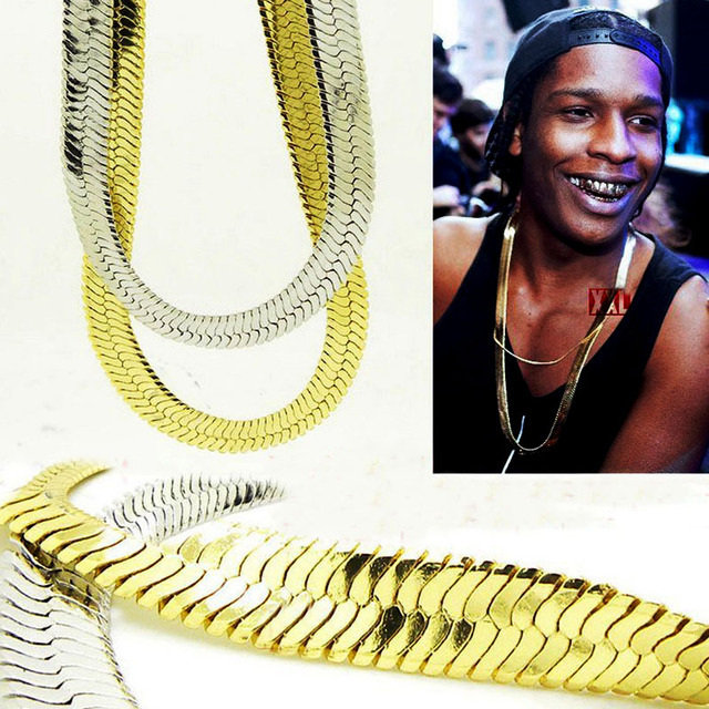 Hot selling Brass long herringbone fish bone pure copper chain 1cm*75cm New Fashion rocky asap hiphop chain gold plated jewelry