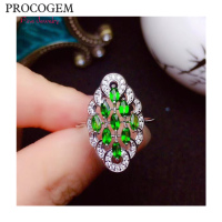 PROCOGEM Natural Diopside Rings for Women Party Gifts more Genuine gemstones Fine jewelry 925 Sterling Silver Free shipping #581