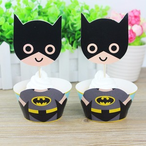 24pcs Cartoon Batman Party Supplies Cupcake Wrapper Cupcake Topper For Baby Shower Birthday Superhero Party Decoration Favors