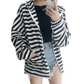 Women Hoodies Overcoat 2017 Chic Style Loose Bat Sleeve Stripe Outwear Oversized Cotton Women Jackets and Coats Pockets Bombers