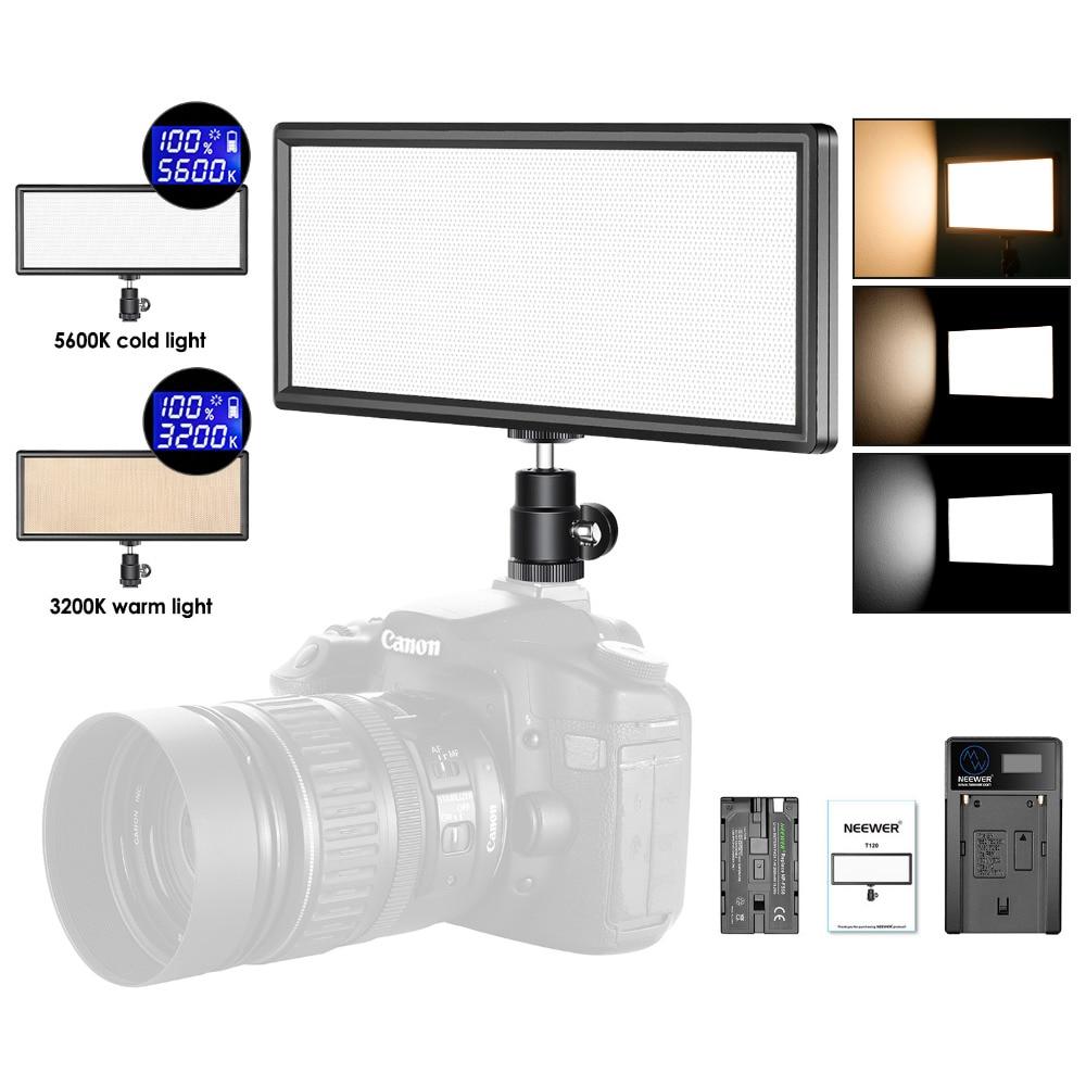 все цены на Neewer Super Slim Bi-color Dimmable LED Video Light LCD Display High Power LED Panel for Camera Photo Studio Video Photography онлайн