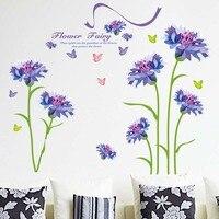 Sıcak Romantik Mor Çiçek Duvar Çıkartmaları DIY Oturma Odası TV/Kanepe Arkaplan Ev Dekorasyonu Mural Çıkartması XL8162