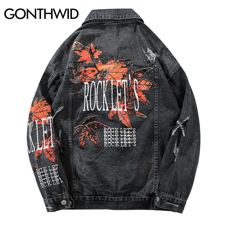 GONTHWID Vintage Mens Maple Leaf Printed Ripped Denim Jacket Mens Distressed Denim Jean Jackets Male Hip Hop Casual Streetwear-in Jackets from Men's Clothing