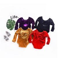 newborn baby girl long sleeve jumpsuits Velvet backless bow romper toddler Overalls Infant Clothing for 1st birthday party
