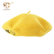 JOEJERRY Wool Beret Yellow Embroidery Crochet Berets for Women Tam Cap Cute Smiley Face Hat Female
