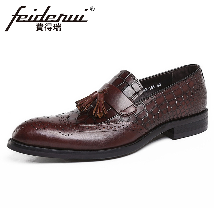 Fashion Genuine Leather British Alligator Mens Loafers Round Toe Slip on Carved Handmade Man Formal Dress Brogue Shoes YMX393Fashion Genuine Leather British Alligator Mens Loafers Round Toe Slip on Carved Handmade Man Formal Dress Brogue Shoes YMX393