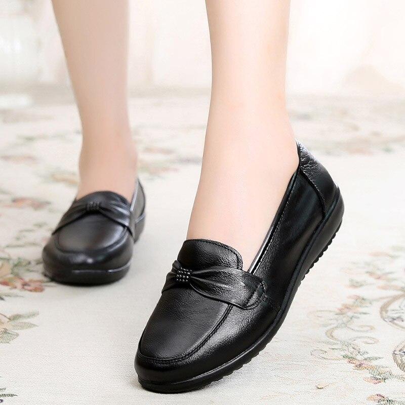 Mode Taille slip Doux Confortable Printemps Cuir Véritable Femmes De En Grande Noir Non 2018 Femme Appartements Chaussures Plat Eqxafp