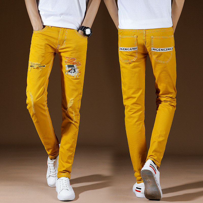 Top Quality 2020 Fashion Casual Students Hip Hop Teenagers Color Printed Ripped Hole Patch Yellow Cotton Slim Jeans Men