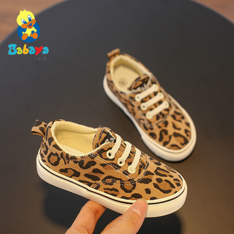 Children Canvas Shoe Girl Casual Shoes Baby Girl Boy Sneakerrs Breathable 2019 Spring New Pattern Leopard Print Cloth Kid Shoes