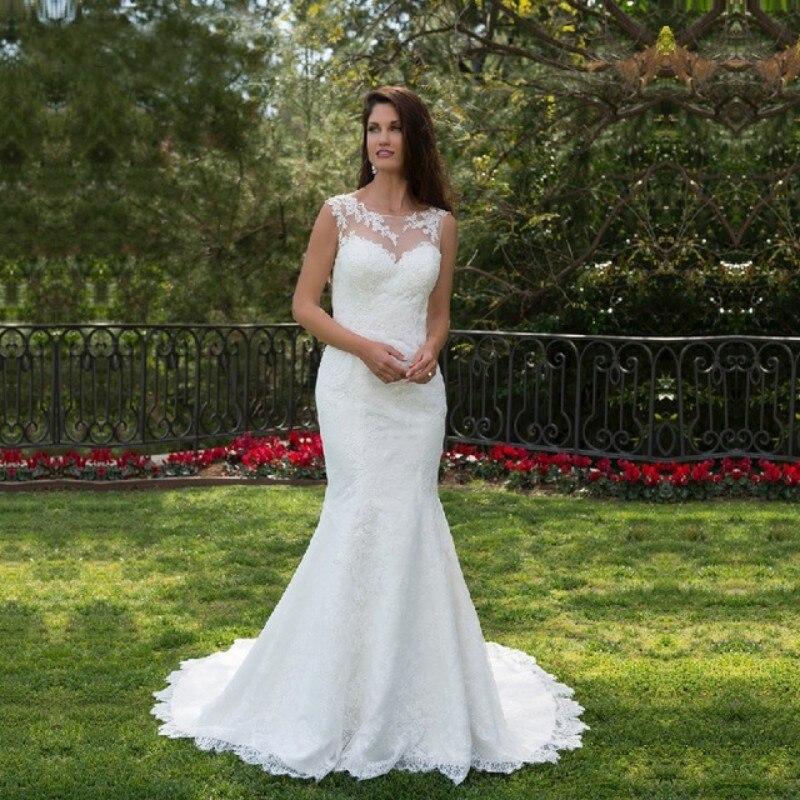 Elegant Lace Mermaid Wedding Dresses 2019 Scoop Neck Bridal Dress Country Wedding Gowns Vestido De Noiva Custom Size