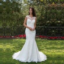 Élégant dentelle sirène robes de mariée 2019 encolure dégagée robe de mariée campagne robes de mariée vestido de noiva taille personnalisée