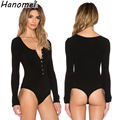 2017 New Single Breasted Slim Body Suit Sexy Combinaison Femme Buttons Womens Jumpsuit Black Leotard Bodysuit For Women C166