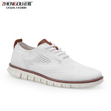 zhengou New Brogue Mens Shoes Lace Up Lightweight British Dress Footwear Fashion Hollow Breathable Knitted Mesh Flats