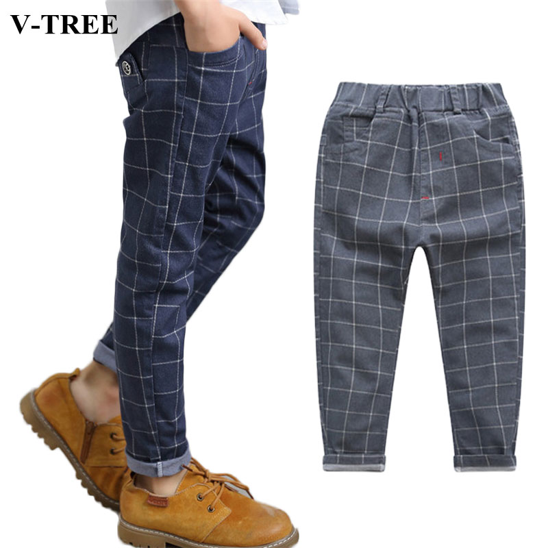 все цены на 2018 Autumn Boys Pants Plaid Pants For Boy Casual Trousers Children's Pants Teenager Pants For 3-12yrs Kids Baggy Clothing
