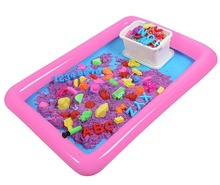 Inflatable Sand Tray Plastic Mobile Table For Children Kids Indoor Playing Sand Clay Color Mud Toys Accessories Multi-function 1 box 12pcs soft magic sand diy dynamic sand indoor playing toys for children clay educational colored soft slime space sand