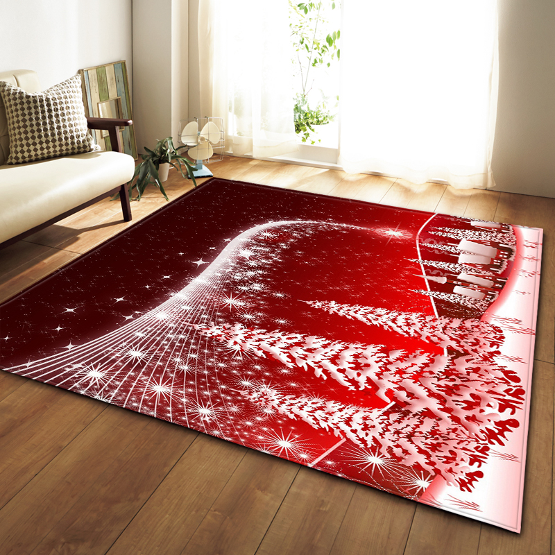 Christmas Party Decoration Rugs 3D Santa Claus Carpets Kids Room Play Mat Flannel Memory Foam Area Rug Carpet For Living Room