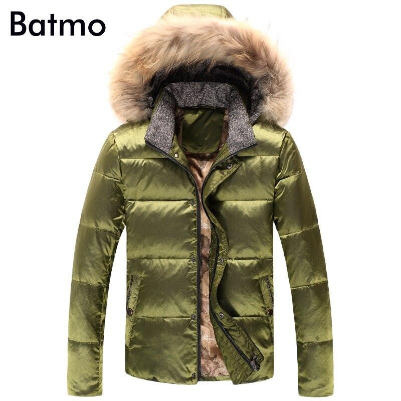Batmo 2017 new winter keep warm White duck down hoody jacket men,M,L,XL,2XL,3XL, wine red navy blue army green winter coat men