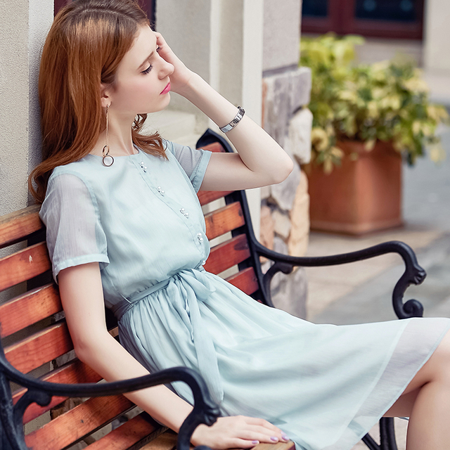 dc472056d1245 US $53.0 |SVESIA 2017 Fahion Casual Dresses women short sleeve solid light  green knee length summer high quality beading dress brand new -in Dresses  ...