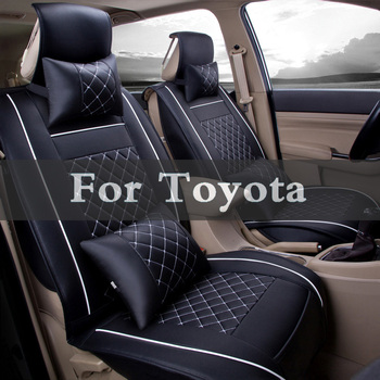 Pu Leather Automobiles Seat Cover Car Seat Cover Striped Cushion For Toyota Hilux Surf Iq Ist Kluger Land Cruiser Prado