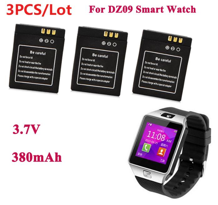 3Pcs / LOT 3.7V 380mAh For A1 DZ09 SmartWatch Rechargeable Li-ion Polymer Battery For DZ09 RYX-NX9 KSW-S6 Smart Watch Battery