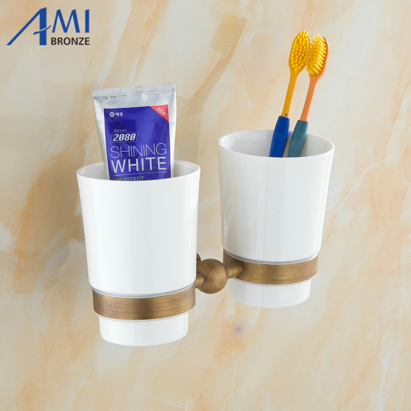 AP2 Series Antique Brass Cup & Tumbler Toothbrush Holder 2cups holder Wall Mounted Bathroom Accessories 7007AY bathroom accessories toothbrush holder chrome brass cup&tumbler holder wall mounted double glass cup holder zr2671