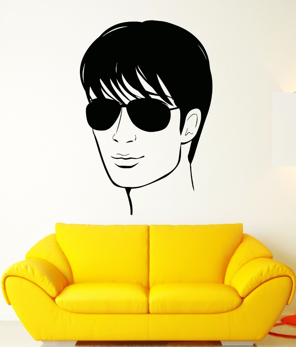 Wall Sticker Vinyl Decal Cool Handsome Man In Glasses Hair Salon ...