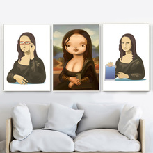 Funny Mona Lisa Mobile Phone Nordic Posters And Prints Wall Art Canvas Painting Pictures For Living Room Bedroom Home Decor