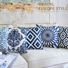 Navy Blue Embroidered Cushion Covers  Canvas Cotton 45x45cm Geometric Floral Home Decorative Throw Pillow For Sofa Seat