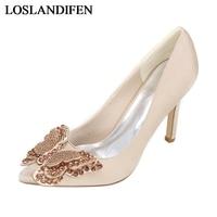 Crystal Buckles Woman Wedding Pumps Royal Silk Thin Heels Rhinestone Jeweled Bow Ladies Bridal Dress Shoes NLK A0127