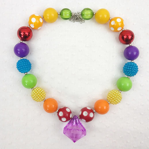 Good Quality Handmade Kids Acrylic Beads Chunky Bubblegum Necklace