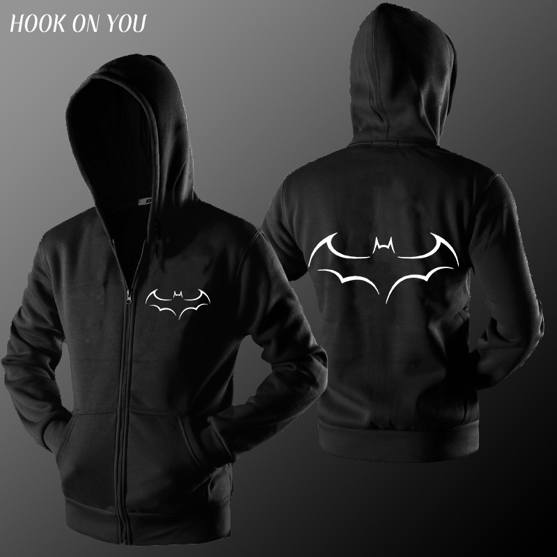 warm material cotton blend men batman hoodie fleece autumn winter casual loose zipper hoodie men hooded sweatshirt