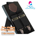 New 3 Clip Elastic Band New Adjutable Black suspenders western-style trousers strap Leather Braces Men, Free Shipping