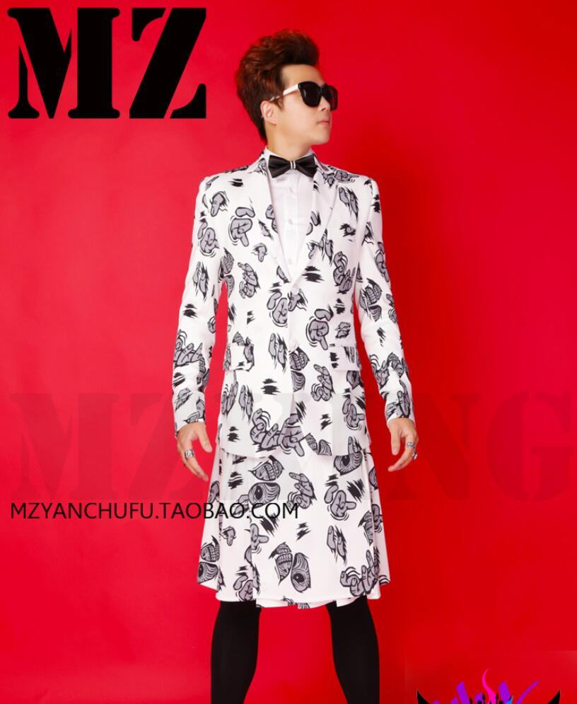 White apron price - Bigbang Zhi Long Suit Jacket Men Signers Stage Wear Dancer Ds Stage Show White