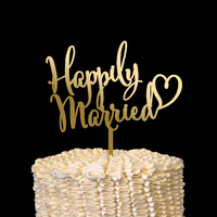 Happily Married Cake Topper Wood Laser Cut Gold/Silver Wedding Decor Bridal Shower Gifts Engagement Party Favors Decorations