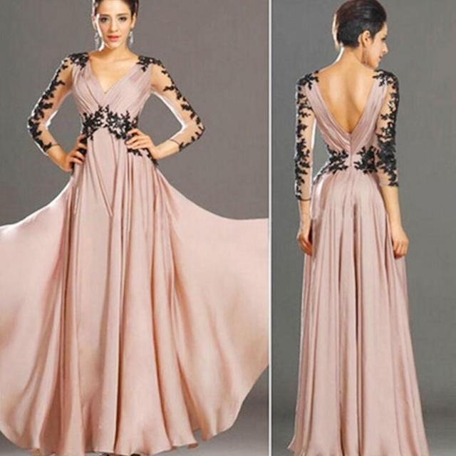 Women v neck long sleeve Formal Ball Prom Gown evening Party Long ...