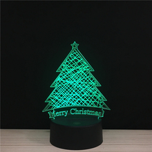 X-mas Day Festival Merry Christmas Tree LED 3D NightLight Acrylic Night Lamp Light Touch And Remote Lamps Lights Kids Decoration