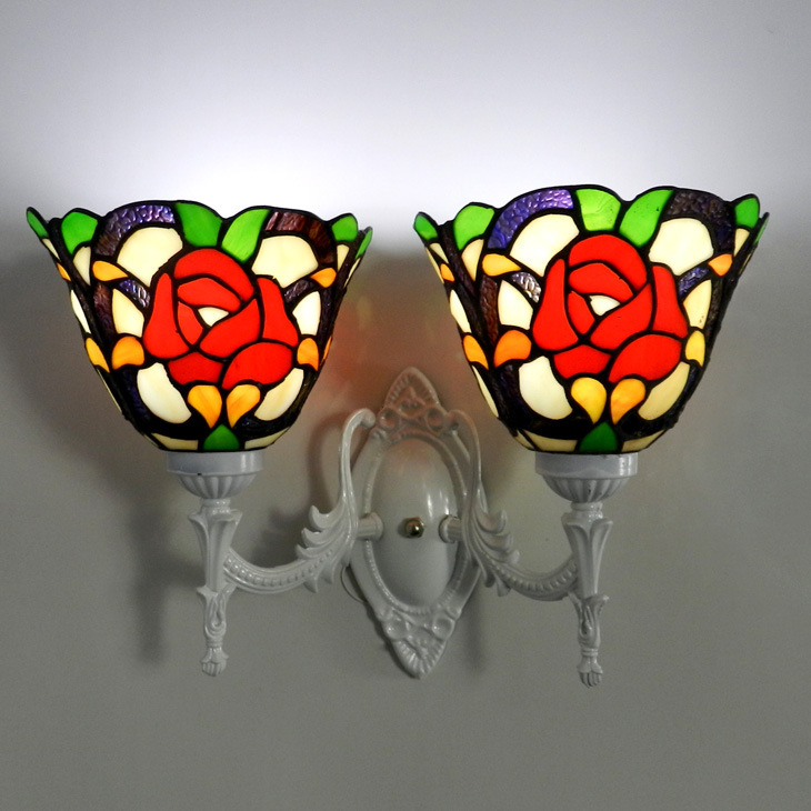 European Tiffany Rose stud wall lamp cozy living room dining room bedroom bedside lamp wedding decoration exit lights